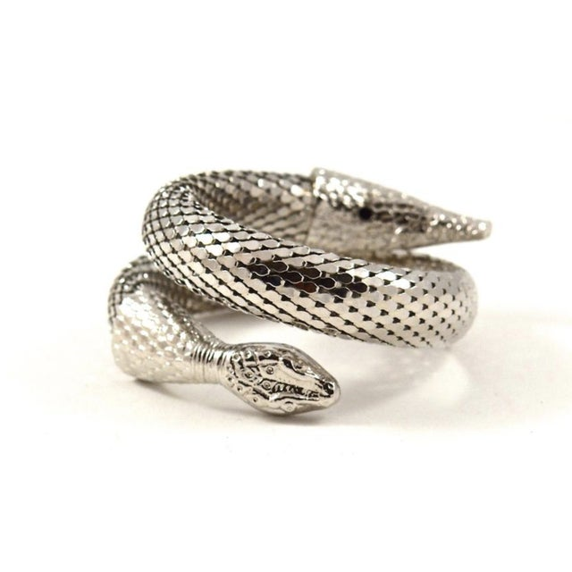Whiting & Davis Whiting & Davis Silver Mesh Snake Cuff For Sale - Image 4 of 4