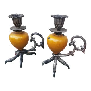 Moroccan Style Rooster Chicken Feet Metal Enameled Candlesticks - a Pair For Sale