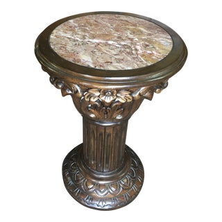 Carved Wood and Marble Pedestal Plant Stand