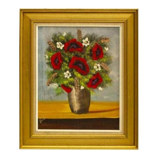 1950s Framed Oil Painting of Poppies on Canvas Paintings, Signed For Sale