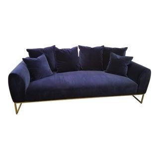 Navy Blue Velvet Sofa With Brass Legs