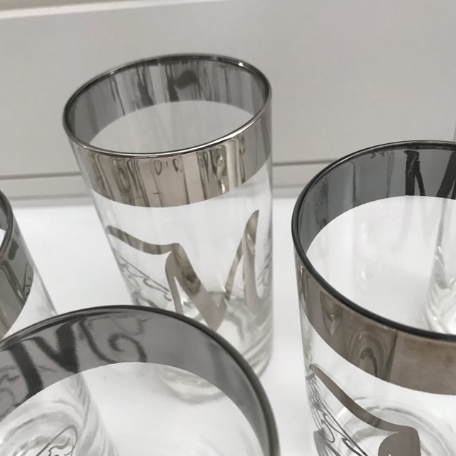 """Dorothy Thorpe Intial """"M"""" Tall Glasses - Set of 8 For Sale - Image 9 of 11"""