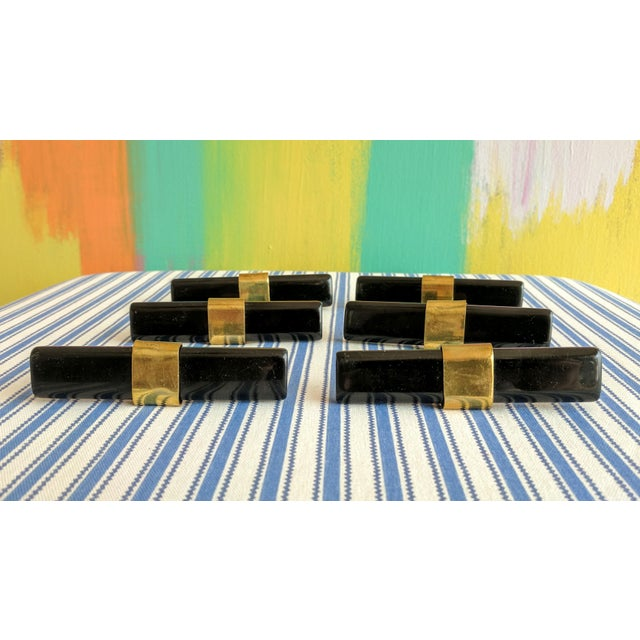 2010s Set of 6- Black and Brass Modern Drawer Pulls For Sale - Image 5 of 9