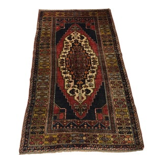 Vintage Red and Blue Handmade Anatolian Floral Rug For Sale