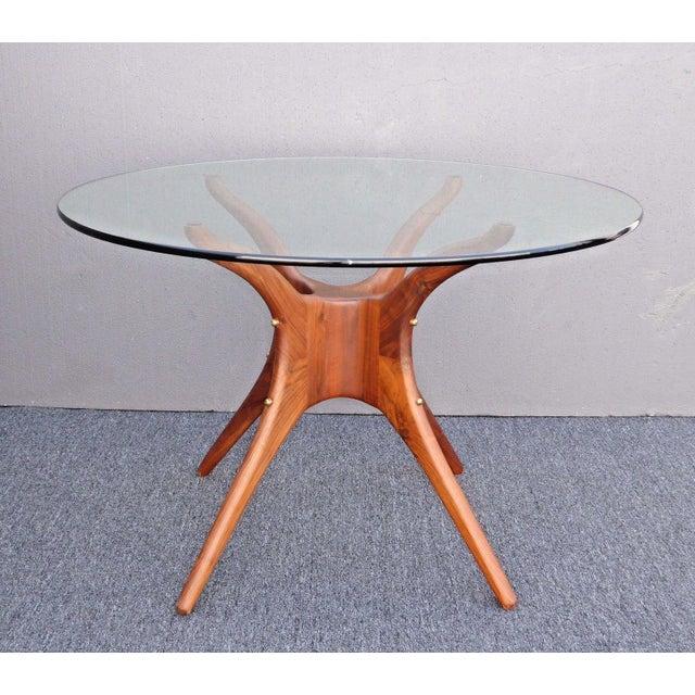 Danish Modern Organic Modernism Carved Walnut Pedestal Glass Top Dining Table For Sale - Image 4 of 11