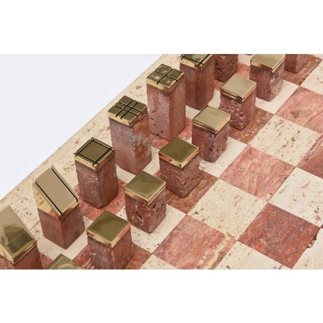 Italian Vintage Travertine and Brass Modernist Chess Set - Image 2 of 10