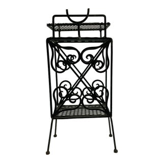 1940s Black Wrought Iron Telephone Record Stand For Sale