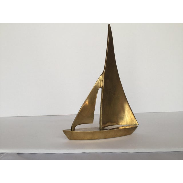 Traditional 1970s Traditional Brass Sailboat Figurine For Sale - Image 3 of 13