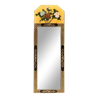 Vintage Chinoiserie Black and Gold Lacquered Floral Motif Trumeau Mirror For Sale