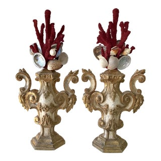 Faux Coral Fantasy Urns - a Pair For Sale