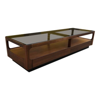 Mid-Century Long Walnut & Glass Coffee Table