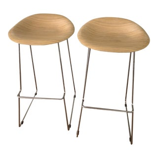 Icf Group Italy Wood Metal Designer Eames Style Bar Stools For Sale