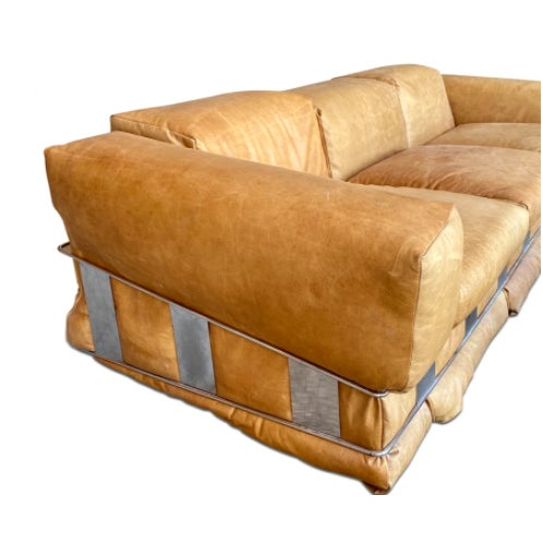 Extremely RARE Adrian Pearsall Sofa. This sofa is unlike most of his other styles. Made with supple leather and chrome...