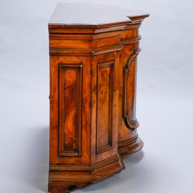 French 19th Century Burl Walnut Cabinet With Rounded Front and Original Keys For Sale - Image 3 of 10