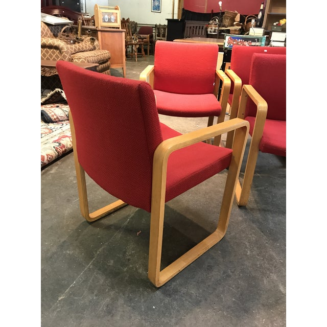 J.G. Furniture Company J.G. Furniture Red Laminate Chairs -Set of 6 For Sale - Image 4 of 11