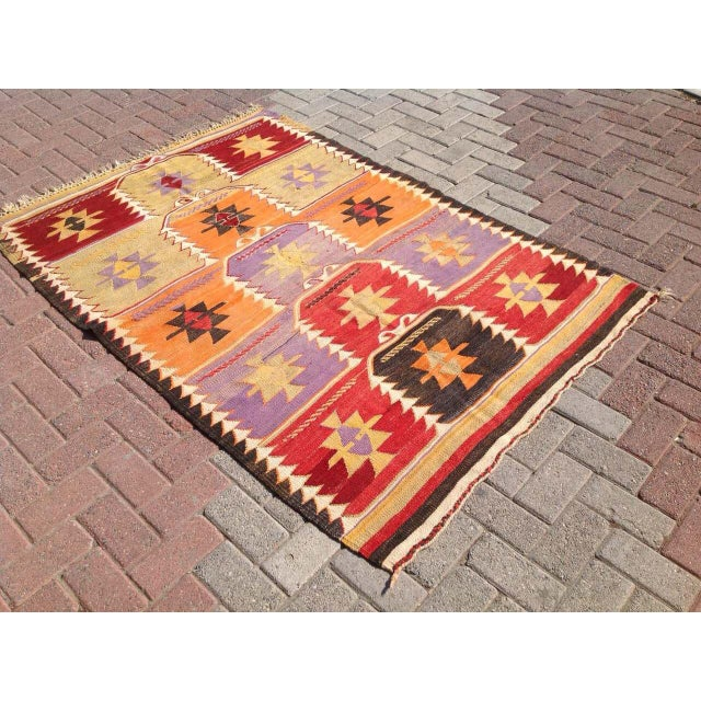 Vintage Turkish Kilim Rug - 4′2″ × 6′2″ - Image 3 of 6