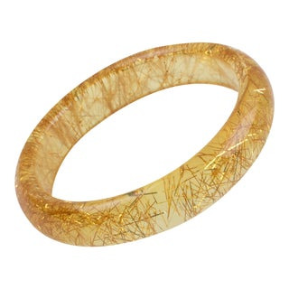 Clear Yellow Lucite Bracelet Bangle Gold Metallic Thread Inclusions For Sale