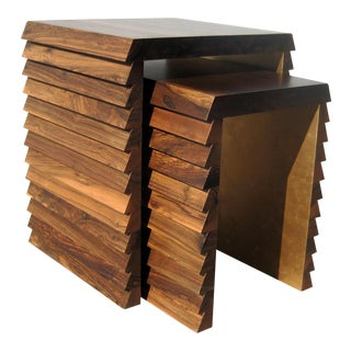 Dorena Modern Argentine Rosewood Nesting Tables With Gold Painted Interior - a Pair For Sale
