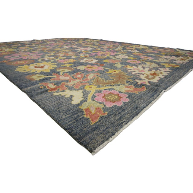 New colorful Turkish Oushak rug with modern contemporary style. Highly stylish yet tastefully casual, this new colorful...