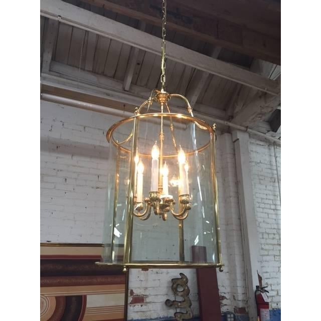 Hollywood Regency Glass Brass Hanging Light - Image 3 of 5