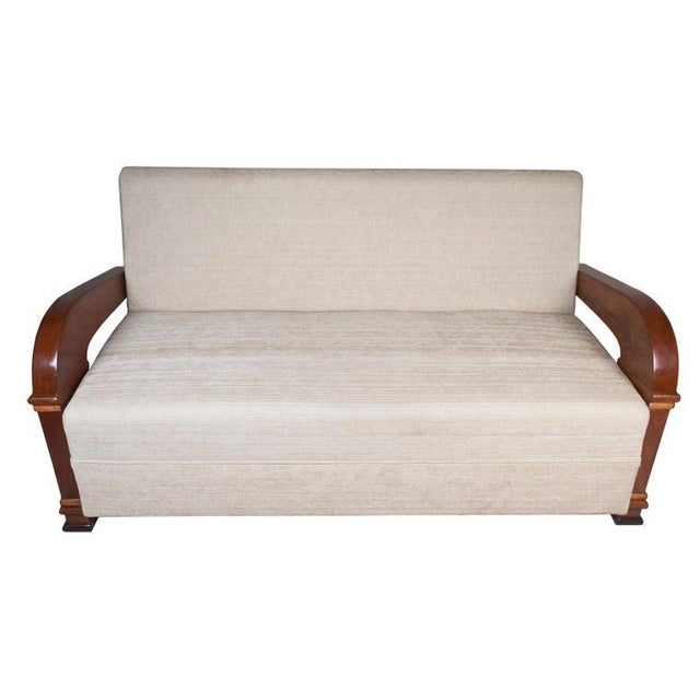 Art Deco Upholstered Teak Loveseat & Chairs Living Room Set - 3 Pc. For Sale - Image 9 of 11