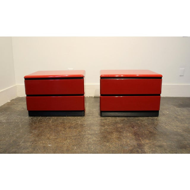 Memphis 80s Modern Cherry Red Lacquered Nightstands by Roger Rougier For Sale - Image 3 of 11