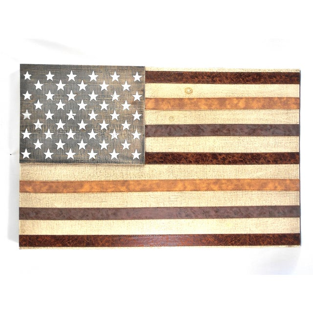 Large Rustic Wood & Leather American Flag Wall Art - Image 9 of 9