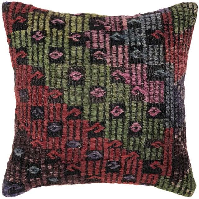 "Turkish Jewel Tone Kilim Pillow   16"" For Sale - Image 3 of 3"