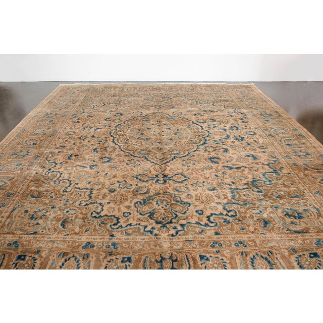 Blue Persian Cream & Blue Rug - 9′8″ × 12′6″ For Sale - Image 8 of 10