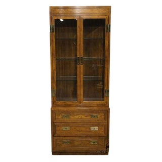 20th Century Campaign Henredon Lighted China-Display Cabinet For Sale