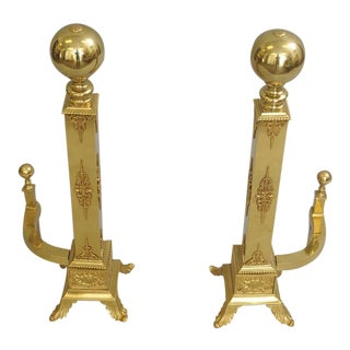 Vintage Brass Cannonball Andirons - a Pair For Sale