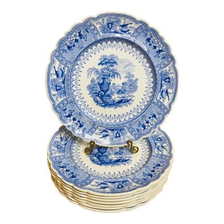 Early 19th Century Staffordshire Blue and White Plates - Set of 8 For Sale