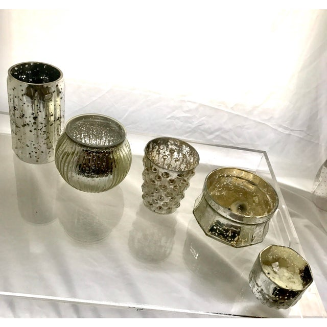 Glass Mercury Glass Votives - Set of 5 For Sale - Image 7 of 7