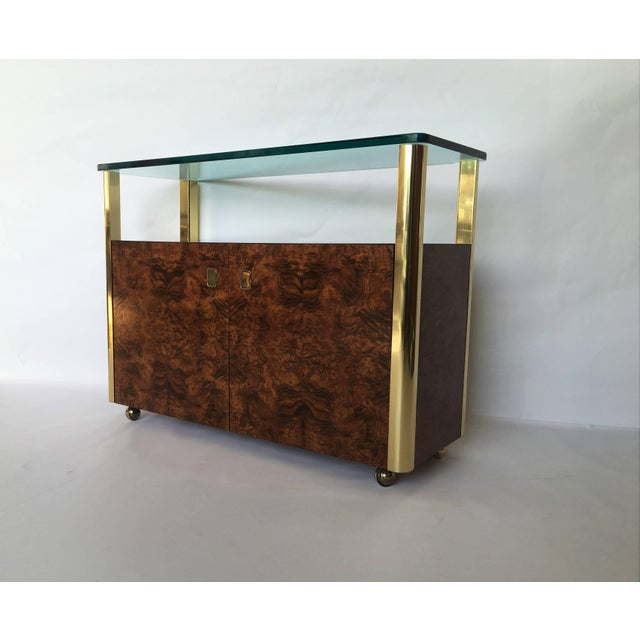 1950s Burl Wood and Brass Sideboard by Century Furniture Company For Sale - Image 5 of 8