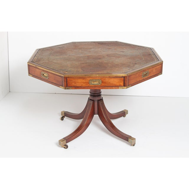 Early 19th Century English Regency Drum Table With Campaign-Style Hardware / Filttings For Sale - Image 5 of 12