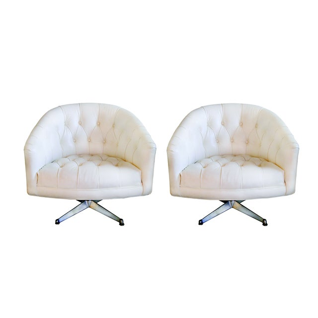 1970s Ward Bennett Tufted Swivel Chairs - Pair - Image 1 of 10