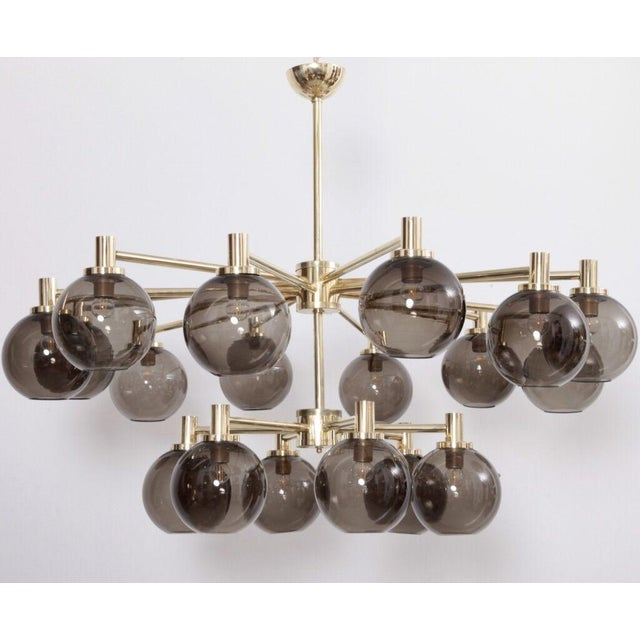 Gold 1 of 2 Huge Tinted Glass and Brass Chandelier Attributed to Hans-Agne Jakobsson For Sale - Image 8 of 8