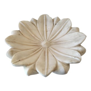 White Marble Lotus Hand - Made Plate For Sale