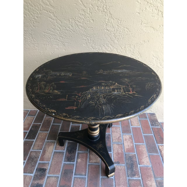 1990s Chinoiserie Painted Round Game Center Table For Sale - Image 13 of 13