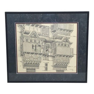 1970s Vintage Framed Balconies Architecture Pen and Ink Drawing For Sale