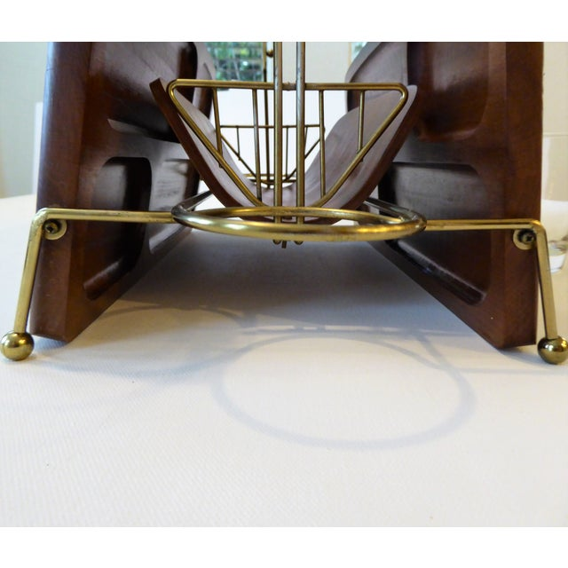 Mid-Century Modern Folding Wood/Gold Dual Appetizer Tray or Bar Caddy For Sale In Portland, OR - Image 6 of 8