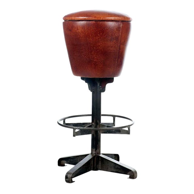 Round Leather Bar Stool - Image 1 of 2
