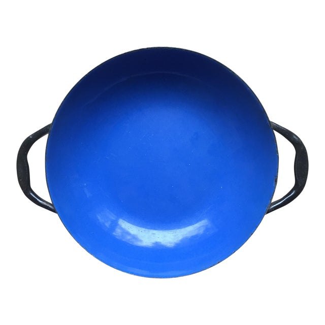 Small Blue Enamel Paella Pan For Sale