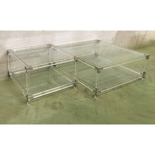 Pair of Midcentury Square Lucite Coffee Tables With Chromed Metal Details Preview