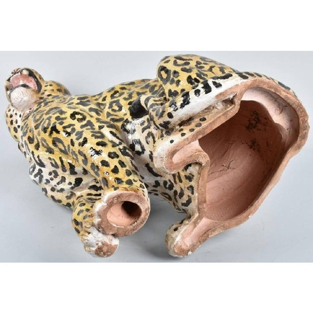 20th Century Italian Hand-Painted Statue of Seated Leopard For Sale - Image 4 of 9