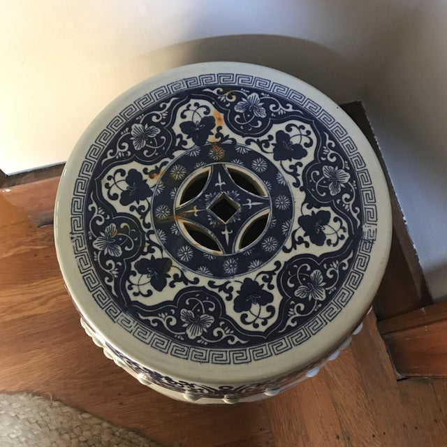 Asian Vintage Chinese Blue & White Porcelain Garden Stool For Sale - Image 3 of 8