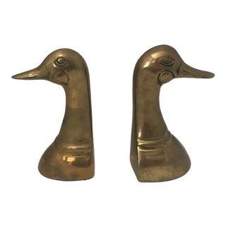 Mid-Century Modern Brass Duck Head Bookends - A Pair