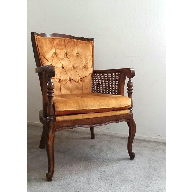 Caning 1970's Vintage Hollywood Regency Orange Velvet Wing Chair For Sale - Image 7 of 7