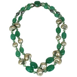 Louis Rousselet Baroque Pearl and Emerald Necklace For Sale