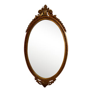 Antique French Oval Giltwood Mirror For Sale